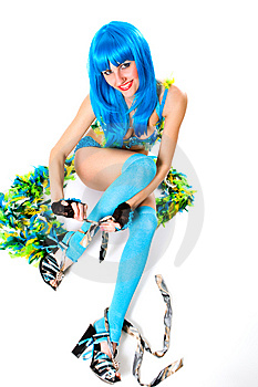 Blue Dress And Wig Stock Photography - Image: 8757882