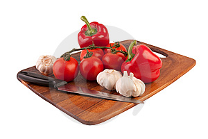 Vegetables And Knife On Cutting Board Stock Photography - Image: 8761332
