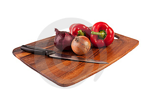 Vegetables And Knife On Cutting Board Stock Images - Image: 8761354