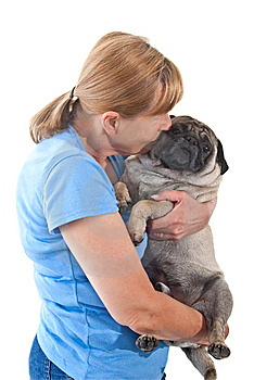 Mature Lady Holding A Pug Dog Royalty Free Stock Photography - Image: 8762357