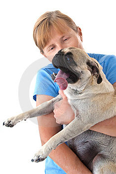 Mature Lady Holding A Pug Dog Royalty Free Stock Images - Image: 8762359