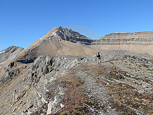 Hiker In The Canadian Rockies Above Treeline Stock Images - Image: 8764314