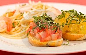 Shrimp Pasta And Bruchetta Stock Photography - Image: 8764662