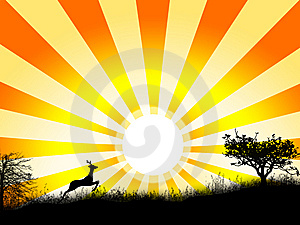 Silhouette Of Grass And Trees, And Also Animal Stock Images - Image: 8765624