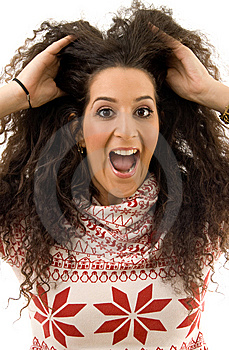 Beautiful Woman Shouting And Holding Her Hair Stock Photos - Image: 8766093