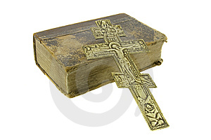 Very Old Vintage Bible And Big Church Cross Royalty Free Stock Photography - Image: 8766587