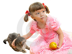 Girl And A Cat Stock Images - Image: 8766664