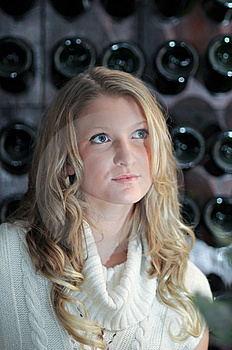 Blond Girl In Front Of Wine Rack Stock Image - Image: 8769091