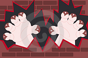 Monster Hands Coming Out Of A Wall Stock Images - Image: 8769834