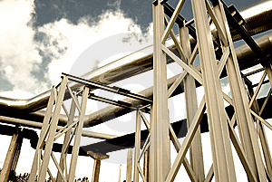 Steel Pipe-line Is Photographed On Sky Background Stock Photography - Image: 8773812