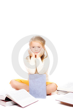 Happy Girl With Books Stock Photos - Image: 8774023
