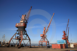 Harbor With Three Crane Stock Photos - Image: 8775643