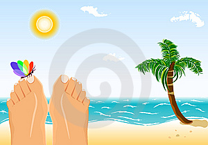 Summer Holidays Sunbathing On A Tropical Beach Stock Photo - Image: 8778960