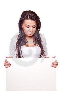 Beautiful Woman With White Board Stock Images - Image: 8779824