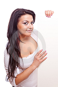 Beautiful Woman With White Board Stock Image - Image: 8779871