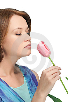 Girl  Sniffing Tulip Stock Image - Image: 8779901