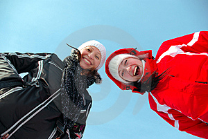 Two Happy Young Gilrs Smiling Royalty Free Stock Photography - Image: 8780307