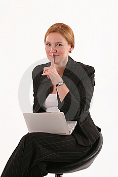 Silent Woman With Notebook Royalty Free Stock Photo - Image: 8782065