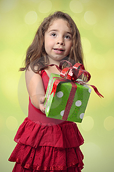 Pretty Girl Giving Present Stock Image - Image: 8782461