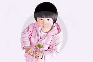 Girl With Tender Leaves Stock Image - Image: 8782541