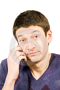 Casual Man Talking On A Mobile Phone Royalty Free Stock Images - Image: 8784519
