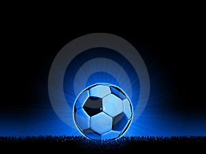 Soccerball With Grass Horizon Line Stock Photos - Image: 8784803