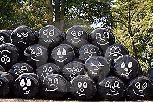 Faces On Black Bags Royalty Free Stock Photos - Image: 8791038