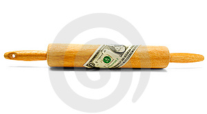 One Dollar Wrapped On Rolling Pin Stock Images - Image: 8795594