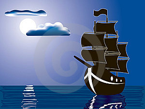 Moonlight Sail Royalty Free Stock Photos - Image: 8795808
