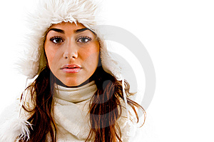 Portrait Of Woman With Woolen Cap Stock Image - Image: 8796271