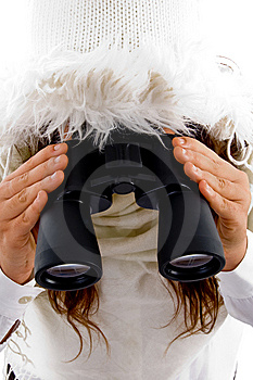 Young Woman Holding Binocular Royalty Free Stock Photos - Image: 8796368