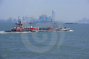 Tugboat Pushing Barge In New York Harbor, Stock Photography - Image: 8797012
