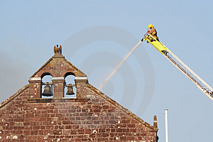 Firefighter Fights Fire Stock Photo - Image: 883650