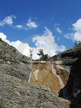 Jumping Girl And Waterfall Stock Images - Image: 885474