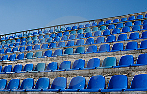 Empty Seat Rows Of Blue Stock Photo - Image: 8803770