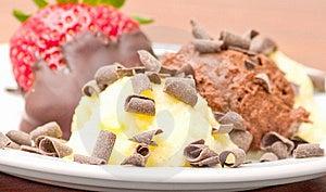 Delicious Icecream Dessert On White Plate Stock Photos - Image: 8808523
