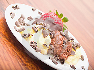 Delicious Icecream Dessert On White Plate Royalty Free Stock Photography - Image: 8808537