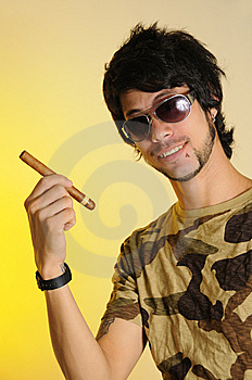 Young Man Holding Cigar Royalty Free Stock Photo - Image: 8809735