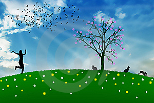 Spring Field Joy Bunny Easter Illustration Stock Images - Image: 8811344