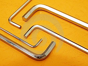 Hex Key Set On Orange Stock Photo - Image: 8812460