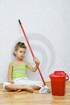 Little Girl Cleaning The Floor Royalty Free Stock Image - Image: 8812746