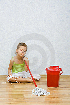 Little Girl Cleaning The Floor Stock Photography - Image: 8812772