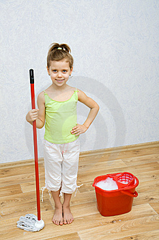 Little Girl Cleaning The Floor Stock Images - Image: 8812784