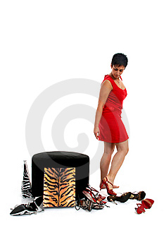 Woman Trying On Shoes Stock Photography - Image: 8814322