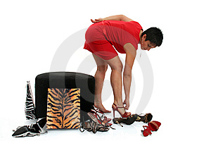 Woman Trying On Shoes Royalty Free Stock Image - Image: 8814336