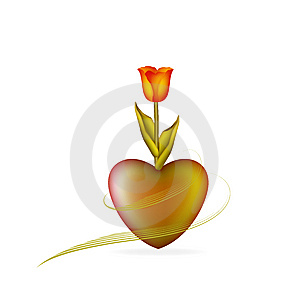 Heart With Tulip Free Stock Images