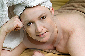 Beautiful Salon Woman Relaxing At Spa With Towel Stock Image - Image: 8817681