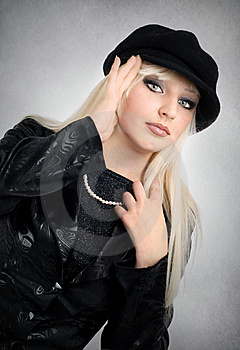 Blonde In A Dark Suit Royalty Free Stock Image - Image: 8822326