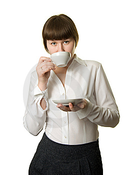 Drinking Businesswoman Royalty Free Stock Photo - Image: 8828285