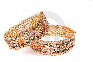 Golden Bracelets Stock Photo - Image: 8830870